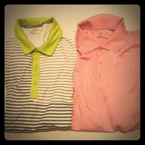 Bundle 2 Nike golf shirts Med pink green gray used